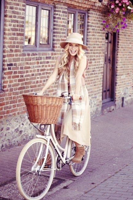 ストール掛け 自転車 春